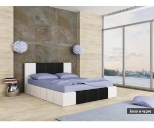 Тапицирано легло Казабланка Бяло/Черно мат
