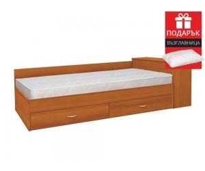 Легло с чекмеджета Мареа 1 82/190 - Светъл Орех - с включен матрак и подарък възглавница