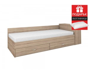 Легло с чекмеджета Мареа 1 82/190 - Дъб сонома - с включен матрак и подарък възглавница