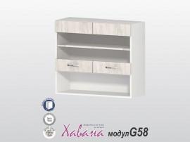 Горен кухненски шкаф с витрина Хавана G58 80 см. - дъб бланко