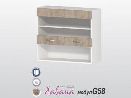 Горен кухненски шкаф с витрина Хавана G58 80 см. - дъб норте