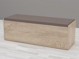 Пейка-ракла Аполо 110/38 - с тапицирана възглавница - Дъб елеганс/Кожа тъмно капучино