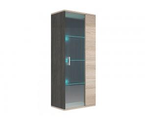 Витрина Римини М3 с LED осветление - Дъб карбон/Дъб сонома