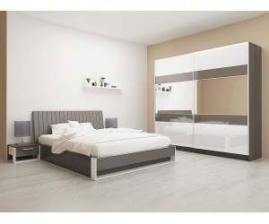 Спален комплект Монца - 160/200 - Нова кремона/бяло гланц/МДФ кобалт огледален гланц/кожа кобалт