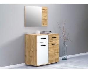Скрин с огледало Роял - Дъб вотан/Бяло гланц - 85 см.