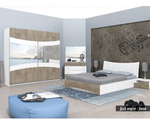 Спален комплект Сиена Н дъб норте/бяло