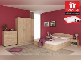 Спален комплект Аполо дъб сонома - с включен матрак 160/200 и подарък възглавиници
