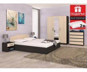 Спален комплект Аполо Тъмен/Пясъчен дъб - с включен матрак 160/200 и подарък възглавници