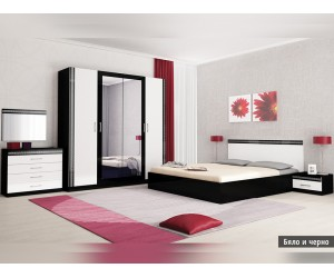 Спален комплект Валерия бяло/черно с матрак
