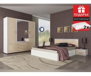 Спален комплект Валентина 160/200 - Бял/Крем гланц - с включен матрак и подарък възглавници