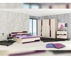 Спален комплект Виена с LED осветление - пясъчен дъб/лилаво гланц