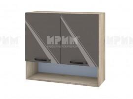 Горен шкаф за кухня с ниша Сити АРФ-Антрацит гланц-05-8 МДФ - 80 см.