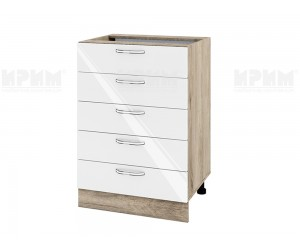 Долен шкаф за кухня Сити АРФ-Бяло гланц-05-29 МДФ - 60 см.
