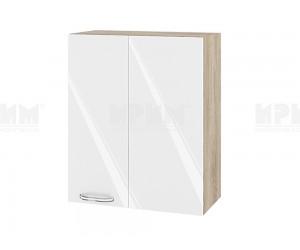 Ъглов горен шкаф за кухня Сити АРФ-Бяло гланц-05-17 МДФ - 60 см.