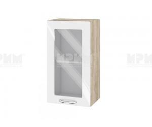 Горен шкаф с витрина за кухня Сити АРФ-Бяло гланц-05-202 МДФ - 40 см.