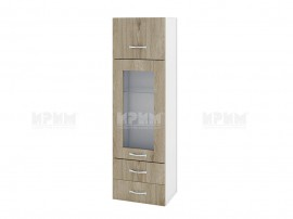 Горен кухненски шкаф Сити БДА-101 с витрина и чекмеджета - 40 см.