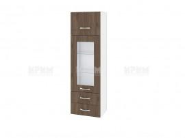 Горен кухненски шкаф Сити БО - 101 с витрина и чекмеджета - 40 см.