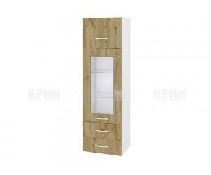 Горен кухненски шкаф Сити БДД - 101 с витрина и чекмеджета - 40 см.