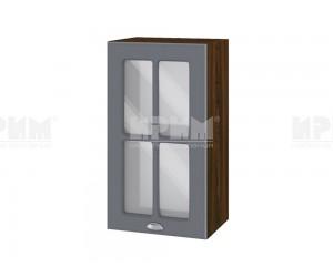 Горен шкаф с витрина за кухня Сити ВФ-Цимент мат-06-102 МДФ - 40 см.
