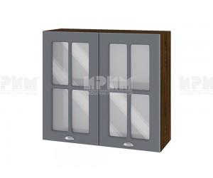 Горен шкаф с витрини за кухня Сити ВФ-Цимент мат-06-104 МДФ - 80 см.