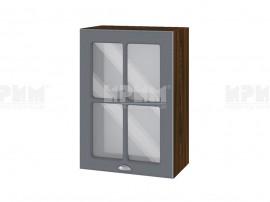Горен шкаф с витрина за кухня Сити ВФ-Цимент мат-06-118 МДФ - 50 см.