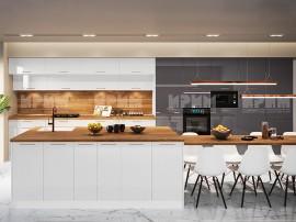 Кухненски комплект с остров Сити 964 - МДФ Бяло гланц/Антрацит гланц - с цели термоплотове