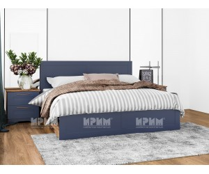 Легло с нощни шкафчета Frenchy - МДФ Wave blue/Олд стайл - 160/200 см.
