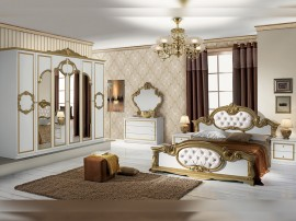 Луксозен спален комплект Barocco Bianco Gold 160/200