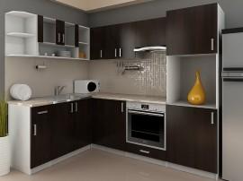 Готова модулна ъглова кухня Кети 240/170 см. с термоплот - Венге/Бяло