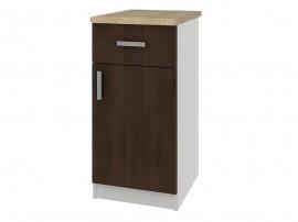 Кухненски долен шкаф с термоплот Кети М20 Венге/Бяло 40 см.