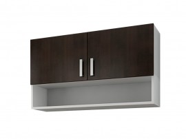 Кухненски горен шкаф с две врати и ниша Кети М15 Венге/Бяло 100 см.