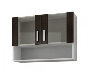 Кухненски горен шкаф витрина Кети М2 Венге/Бяло 80 см.