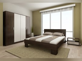 Спален комплект Демин 160/200 см. - Венге/ Бяло