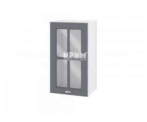 Горен шкаф с витрина за кухня Сити БФ-Цимент мат-06-102 МДФ - 40 см.