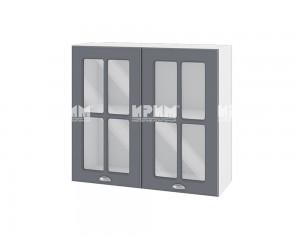 Горен шкаф с витрина за кухня Сити БФ-Цимент мат-06-104 МДФ - 80 см.