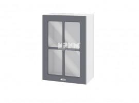 Горен шкаф с витрина за кухня Сити БФ-Цимент мат-06-118 МДФ - 50 см.