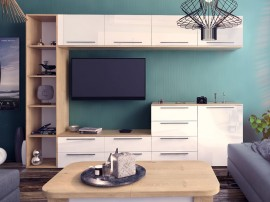 Модулна секция Kiara 4 - Oak hamilton natur/бял гланц/бяло - 280 см.