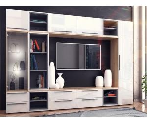 Модулна секция Kiara 5 - Oak hamilton natur/бял гланц/бяло/тъмен диамант - 280 см. - LED осветление