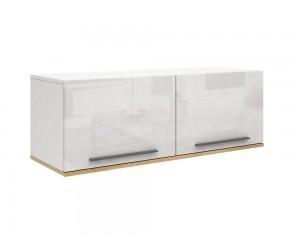 Горен шкаф с две врати Kiara M15 - Oak hamilton natur/бял гланц/бяло