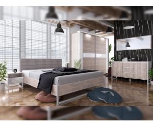 Спален комплект Modern Конфигурация 2 - МДФ Бял гланц/Greige Castello oak - 160/200 см. - Метални крака - LED осветление