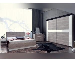 Спален комплект Modern Конфигурация 3 - МДФ Бял гланц/Greige Castello oak - 160/200 см.