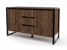 Шкаф с две врати и три чекмеджета Modern 2 M12 - МДФ Черен гланц/Brandy Castello oak - 130 см. - Метални крака