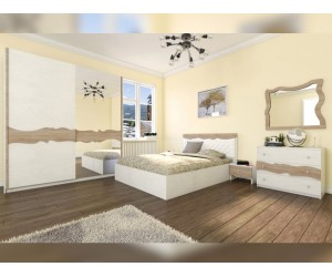 Спален комплект Аладин - бяло фладерно/сонома