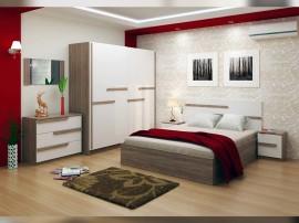 Спален комплект Виктория - бяло фладерно/дъб винтидж оксид