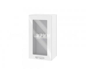Горен шкаф с витрина за кухня Сити БФ-Бяло гланц-05-202 МДФ - 40 см.