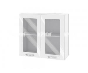 Горен шкаф с витрини за кухня Сити БФ-Бяло гланц-05-204