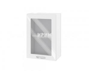 Горен шкаф с витрина за кухня Сити БФ-Бяло гланц-05-218 МДФ - 50 см.