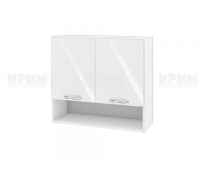 Горен шкаф за кухня Сити БФ-Бяло гланц-05-8 МДФ - 80 см.