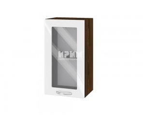 Горен шкаф с витрина за кухня Сити ВФ-Бяло гланц-05-202
