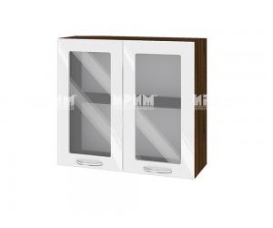 Горен шкаф с витрини за кухня Сити ВФ-Бяло гланц-05-204 МДФ - 80 см.